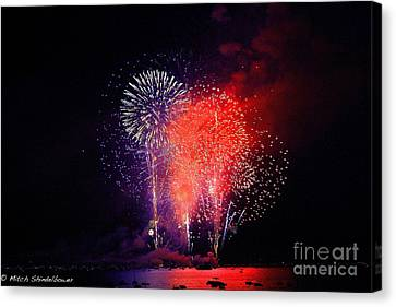 Canvas Print featuring the photograph Tahoe Fireworks. by Mitch Shindelbower