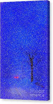 Tail Lights In A Snow Storm Canvas Print by Lila Fisher-Wenzel