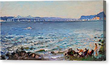 Taking A Break By Hudson River  Canvas Print by Ylli Haruni