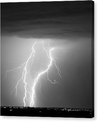 The Lightning Man Canvas Print - Taking It To The Ground Bw by James BO  Insogna