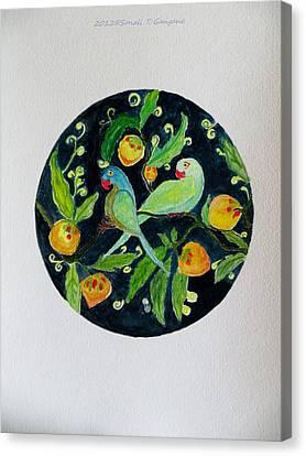 Talkative Parakeets Canvas Print by Sonali Gangane