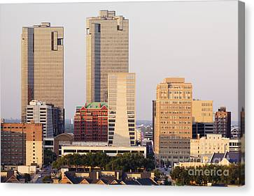 Tall Buildings In Fort Worth At Dusk Canvas Print