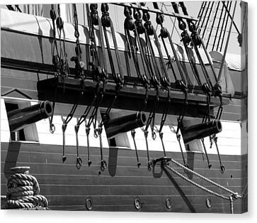 Canvas Print featuring the photograph Tall Ship Canons Black And White by Darleen Stry
