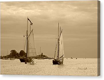 Tall Ships Sailing In Sepia Canvas Print by Suzanne Gaff