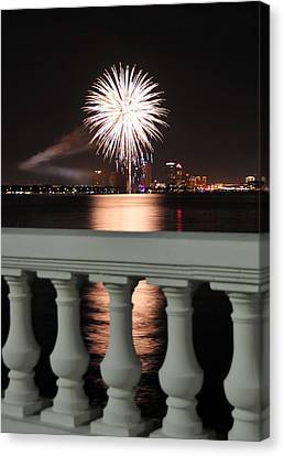Tampa Bay Fireworks Canvas Print by David Lee Thompson