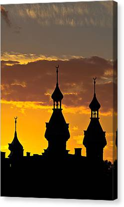 Canvas Print featuring the photograph Tampa Bay Hotel Minarets At Sundown by Ed Gleichman