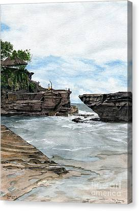 Canvas Print featuring the painting Tanah Lot Temple II Bali Indonesia by Melly Terpening