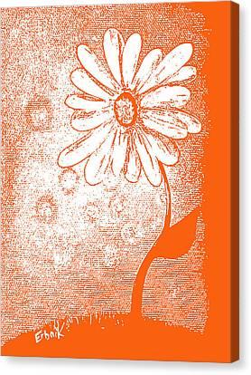 Tangerine Daisy By Shawna Erback Canvas Print by Shawna Erback