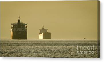 Ship Canvas Print - Tanker Sunset Beach Park Vancouver Bc Canada by Andy Smy