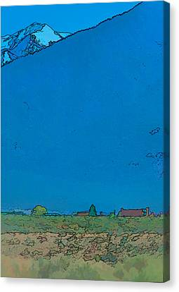 Taos Canvas Print - Taos Mountain In Blue by Charles Muhle