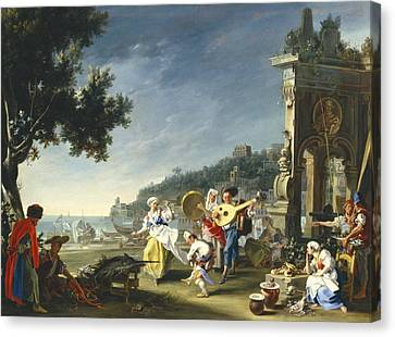 Tarantella At Mergellina Canvas Print by Filippo Falciatore