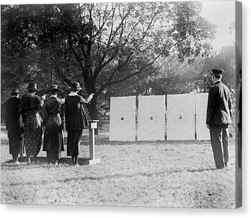Target Shooting, Four Women Shooting Canvas Print by Everett