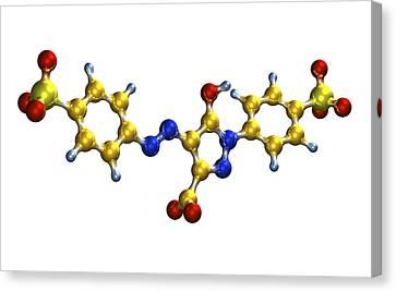 Tartrazine Food Colouring Molecule Canvas Print by Dr Mark J. Winter