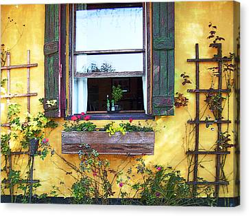 Canvas Print featuring the photograph Tavern Window by Ginny Schmidt