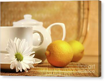 Tea And Lemon Canvas Print by Sandra Cunningham