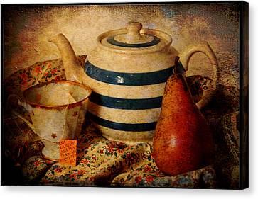 Brunch Canvas Print - Tea And Pear by Toni Hopper