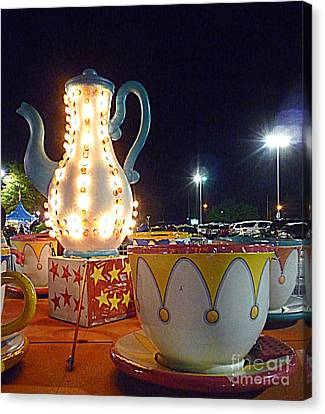 Canvas Print featuring the photograph Tea Pot And Cups Ride by Renee Trenholm
