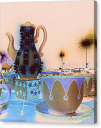 Canvas Print featuring the photograph Tea Pot And Cups Ride With Inverted Colors by Renee Trenholm