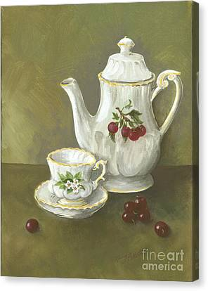 Canvas Print featuring the painting Tea With Cherries  by Nancy Patterson