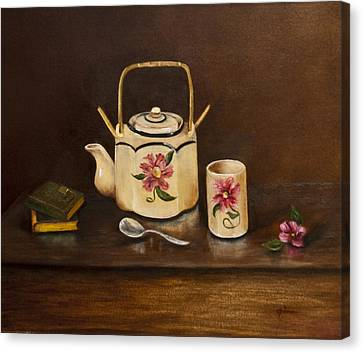 Tea With Mom And Grandma Canvas Print by Gina Cordova