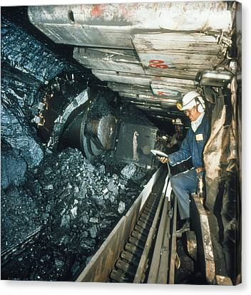 Technician Measures Noise Levels In A Coal Mine Canvas Print by Crown Copyrighthealth & Safety Laboratory