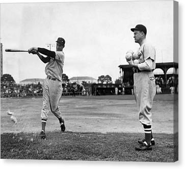 Ted Williams Gets Batting Practice Canvas Print by Everett