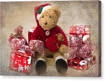 Teddy At Christmas Canvas Print by Louise Heusinkveld