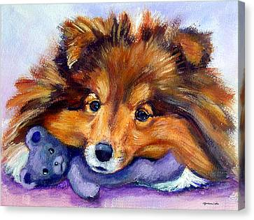 Teddy Bear Love - Shetland Sheepdog Canvas Print by Lyn Cook
