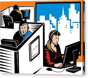 Telemarketer Office Worker Retro Canvas Print by Aloysius Patrimonio