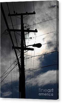 Telephone And Electric Wires And Pole In Abstract Silhouette . 7d13651 Canvas Print by Wingsdomain Art and Photography