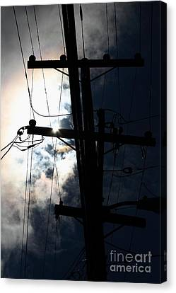 Telephone And Electric Wires And Pole In Silhouette . 7d13615 Canvas Print by Wingsdomain Art and Photography