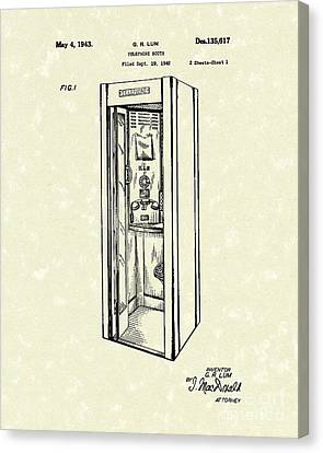 Telephone Booth 1943 Patent Art Canvas Print by Prior Art Design