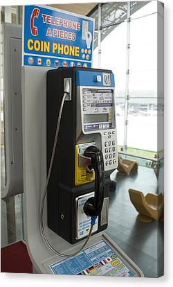 Telephone In Airport Lounge Canvas Print by Mark Williamson