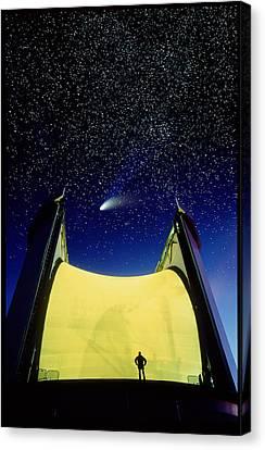 Telescope & Comet Hale-bopp Canvas Print