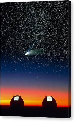 Keck Telescope Canvas Print - Telescope Domes On Mauna Kea With Hale-bo by David Nunuk