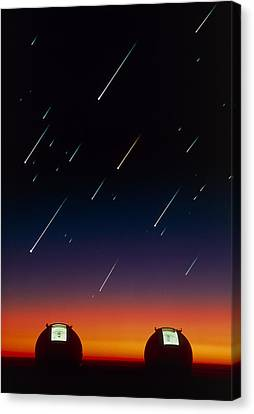 Keck Telescope Canvas Print - Telescope Domes On Mauna Kea With Meteors by David Nunuk