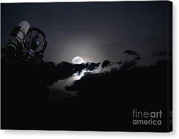 Telescope Pointed Out To The Night Sky Canvas Print by Roth Ritter