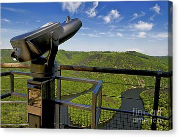 Telescope With View On Meander Of Queuille. Auvergne. France. Europe Canvas Print by Bernard Jaubert
