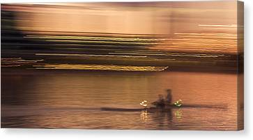 Tempe Town Lake Rowers Abstract Canvas Print by Dave Dilli