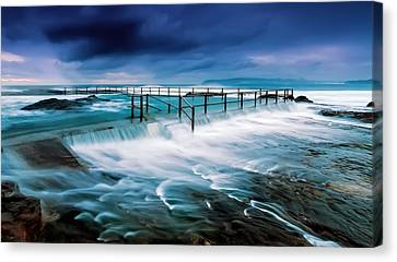 Tempest At The Baths Canvas Print by Mark Lucey