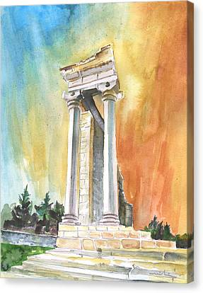 Temple Of Apollo In Kourion Canvas Print by Miki De Goodaboom