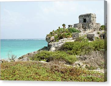 Canvas Print featuring the photograph Temple Of The Wind God Tulum Mexico by John  Mitchell