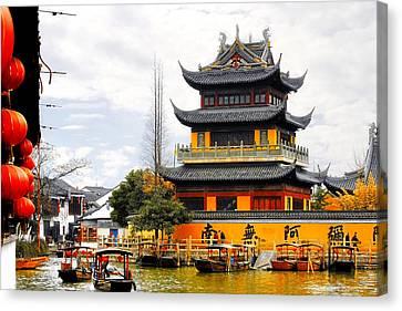 Temple Pagoda Zhujiajiao - Shanghai China Canvas Print by Christine Till