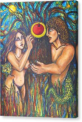 Temptation Of Adam And Eve  Canvas Print by Rae Chichilnitsky