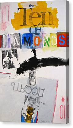 Canvas Print featuring the painting Ten Of Diamonds 24-52 by Cliff Spohn