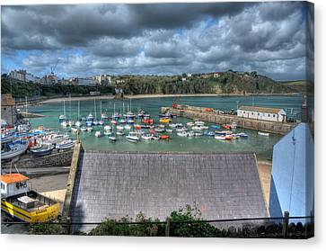 Canvas Print featuring the photograph Tenby Harbour Pembrokeshire 1 by Steve Purnell