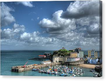 Canvas Print featuring the photograph Tenby Harbour Pembrokeshire 3 by Steve Purnell