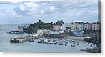 Canvas Print featuring the photograph Tenby Harbour Pembrokeshire Panorama by Steve Purnell
