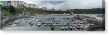 Canvas Print featuring the photograph Tenby Panorama by Steve Purnell