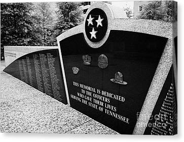 Police Officer Canvas Print - tennessee state police officer memorial war memorial plaza Nashville Tennessee USA by Joe Fox